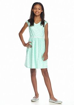 Speechless Short Sleeve Lace Chevron Dress Girls 7-16