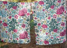Tropical Barkcloth SALE 1940s 1950s Big BOLD Tropical Flower Barkcloth Drapes Curtains  WaS 300.00   NoW 150.00 Free Shipping in USA only