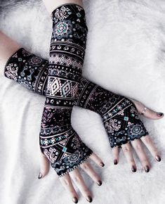 Desert Star Arm Warmers | Black Tan Turquoise Blue Berry Burgundy Floral Aztec Tribal by ZenAndCoffee