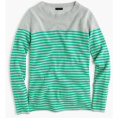 J.Crew Collection Cashmere Long-Sleeve T-Shirt featuring polyvore, fashion, clothing, tops, t-shirts, stripe tee, green long sleeve t shirt, striped tee, striped t shirt and green top