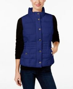 Charter Club Quilted Vest, Only at Macy's - Blue L