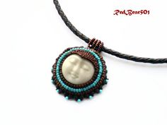 Face Necklace Leather Rope Necklace Sun Necklace by RedBear501