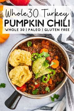 Recipes Paleo The Best Healthy Pumpkin Turkey Chili for this fall! Can be made in slow cooker, instant pot or stove top, this Turkey Chili recipe is packed with autumn flavors, protein and veggies. It is also Paleo, Keto and Whole 30 Friendly. Chili Recipes, Paleo Recipes, Real Food Recipes, Cooking Recipes, Rice Recipes, Best Healthy Recipes, Cooking Pasta, Cooking Cake, Cooking Steak