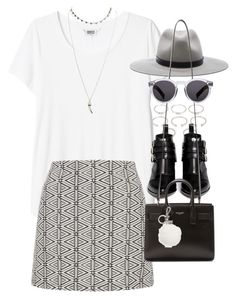 """""""Outfit with a mini skirt"""" by ferned on Polyvore featuring Forever 21, Topshop, Tabitha Simmons, rag & bone, Yves Saint Laurent, Illesteva, Michael Kors and Wet Seal"""