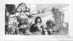 Mark Schultz Conan and Belit Prelim Comic Art