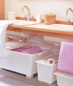 Astounding 73 Practical Bathroom Storage Designs : Astounding 73 Practical Bathroom Storage With White Wash Basin Mirror Pink Towel Storage. Creative Bathroom Storage Ideas, Small Bathroom Ideas On A Budget, Small Bathroom Organization, Budget Bathroom, Organization Ideas, Small Bathrooms, Basement Bathroom, Master Bathroom, Under Sink Storage