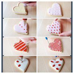 V Day cookie decorating Valentine Cookies, Cookie Decorating, Desserts, Tailgate Desserts, Deserts, Postres, Dessert, Plated Desserts