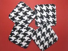 Coasters, Fabric Coasters        Black & White Houndstooth. $10.00, via Etsy.