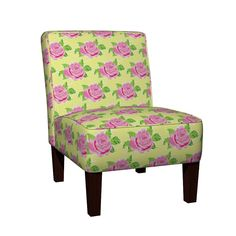 Maran Slipper Chair featuring Watercolor rose Large - yellow by drapestudio | Roostery Home Decor