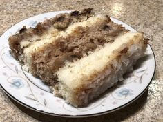 """My mom's recipe for Japanese Fruit Cake, a layer cake with two plain, or """"light"""" layers and two """"dark"""" layers with nuts and raisins. Layers are topped with coconut filling. Japanese Fruit Cake Recipe, Southern Desserts, Easy Cake Recipes, Something Sweet, Creative Food, Cupcake Cakes, Cupcakes, Yummy Food, Favorite Recipes"""
