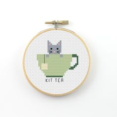 Kit Tea Cross Stitch pattern, tea pattern, tea pun pattern, tea cup pattern, counted cross stitch, instant PDF download, DIY