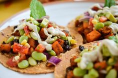 Sweet Potato Tacos: Just made these!  Yummy and healthy.  Mint in the succotash is so good!