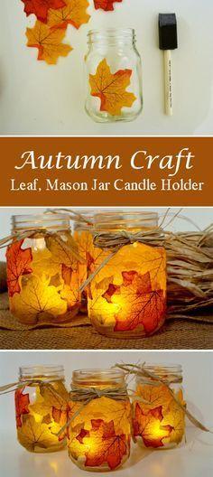 Autumn Craft Leaf, Mason Jar Candle Holder