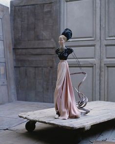 "In 1944, the war-battered French couture industry decided to revive its international reputation by conceiving a small exhibition entitled Théâtre de la Mode. The exhibition organizer enlisted the major fashion designers of the day, including Jeanne Lanvin, Lucien Lelong, Elsa Schiaparelli, and Pierre Balmain to create outfits for small wire-frame dolls just over two feet tall. Jean Patou ""Fleurs de Mal"" Photo by David Seidner #davidseidner @icp"