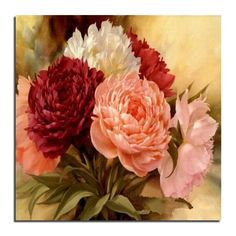 Pink Peony 20x20 Diamond embroidery Diy diamond  square drill rhinestone pasted Crafts Needlework home decoration zx #Affiliate