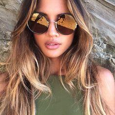 Very large round mirrored sunglasses.  #summer #beach #water  www.anysunglasses.com www.pinterest.com/anysunglasses