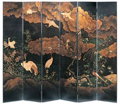 6 Panel Japanese Hand Painted Wood Screen Design by Moissonnier