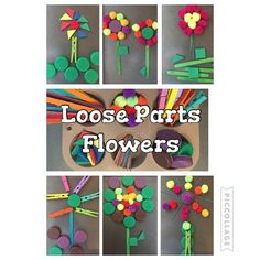 Loose Parts Flowers {I put together this tray of loose parts for Bree to play with and she decided to just make a bunch of flowers!} #toddlerplay #kidplay #toddlerfun #kidfun #looseparts #upcycle #earlyeducation #earlylearning101 #earlearning #loosepartsplay #busytime #busybag #busybox #quiettime #quietplay