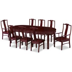"Featuring exquisite Chinese key motif, this Ming (1368-1644) style dining table set is crafted from solid rosewood using traditional joinery techniques. The table can be extended to 96"" with two 18"" removable leaves. Hand applied dark cherry finish enhances the beauty of the rosewood grain and rounds out its quiet beauty. The set comes with six side chairs and two armchairs."