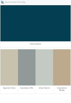 Marine Blue: Spanish Olive, Gibraltar Cliffs, Silver Marlin, Greenbrier Beige