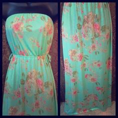 Beautiful Mint Turquoise Floral Maxi Rue 21 Dress So pretty!!! Stretchy. New with tags. It has belt loops so you can wear a dress belt with it. Rue 21 Dresses Maxi