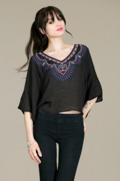 Embroidered Black Poncho Top – black boho embroidery trendy top - The Aurora Company - www.theauroraco.com