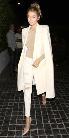 7 A-List Looks That Prove It's Possible to Wear White Jeans in the Winter - Gigi Hadid - from InStyle.com