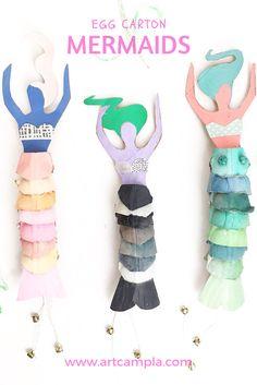 DIY: egg carton mermaid dolls