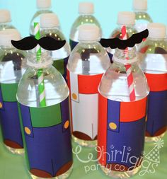 Instant Download Mario Character Bottle Wraps with Mustache Straw Flags - Printable 4 pg PDF file. $4.00, via Etsy.