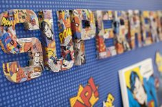 comic book decoupage, and popcorn cones made of comic books paper - Isaac's Superhero Party