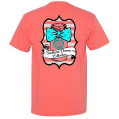 Mason Jar Bowtie Southern Charm Collection on a Coral Short Sleeve T Shirt Buy Mason Jars, Tie Die Shirts, Southern Charm, Simply Southern, Coral Shorts, Cute Outfits For School, Fashion Sites, Screen Printing, Charmed