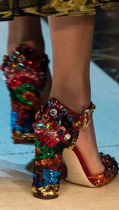 Dolce & Gabbana at Milan Fashion Week Spring 2017 Unique Shoes, Cute Shoes, Me Too Shoes, Look Fashion, High Fashion, Fashion Shoes, Milan Fashion, Dolce & Gabbana, Shoe Boots