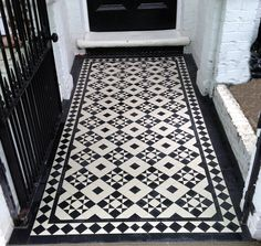 black and white victorian mosaic tile path chiswick ealing london Victorian Front Garden, Victorian Hallway, Victorian Terrace House, Fireplace Hearth Tiles, Victorian Mosaic Tile, Porch Tile, Front Path, Garden Tiles, Hall Flooring