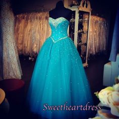 Disney inspired sparkly green tulle long poofy prom dress, evening dress for teens #coniefox