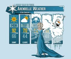 Buy the Frozen Arendelle Weather Forecast t-shirt. This funny Frozen shirt features Elsa giving a chilly weather report. Disney Love, Disney Magic, Disney Frozen, Disney Art, Disney Stuff, Disney Films, Disney And Dreamworks, Disney Pixar, Disney Crossovers