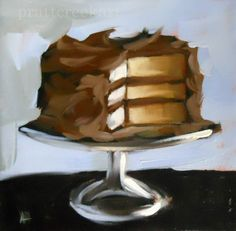 """buttermilk cake with chocolate frosting"" - Original Fine Art for Sale - © Angela Moulton Chocolate Art, Chocolate Frosting, Chocolates, Still Life Oil Painting, Pastry Art, Painted Cakes, Cupcakes, Cake Shop, Paint Party"