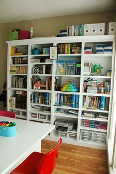 I think these shelves are great for a homeschooling room.  They look sturdy enough that my youngest would have a hard time deystroying them.  The adjustable shelves make the storage of oddly shaped items easier, and I tend to have a good collection of those.