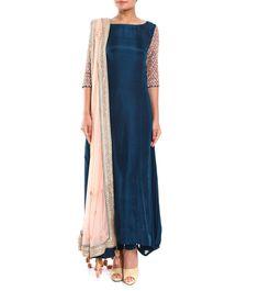 Moroccan Blue Embroidered Dupion Silk & Soft Net Anarkali Suit