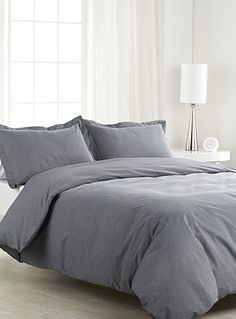 480 Thread Count 5 Piece Full/Queen Size Duvet Cover Set with Extra Pillow Shams Egyptian Cotton Premium Quality Solid Pattern Elephant Gray Full Size Duvet Cover, Queen Size Duvet Covers, Black Duvet Cover, Duvet Sets, Duvet Cover Sets, Bed Sets, Men Home Decor, Cal King Size, Egyptian Cotton