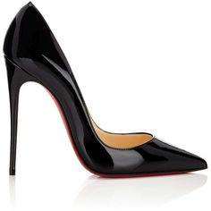 Christian Louboutin Women's So Kate Patent Leather Pumps (17 225 UAH) ❤ liked on Polyvore featuring shoes, pumps, black, black stiletto pumps, black high heel pumps, high heel stilettos, black slip-on shoes and black shoes