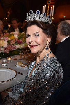 Queen Silvia of Sweden dazzled in her encrusted tiara and complimentary jewelry during   the Nobel Prize Award Ceremony 2016 at Concert Hall in Stockholm's City Hall, Sweden
