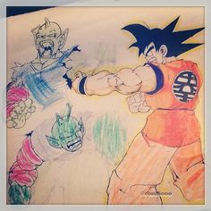 """Throwback sketch Summer 1996. School out, drawing and watching Dragon Ball Z. I walk out the room to get some munchies, come back and my 5 year old lil cousin Anitra has went in on my piece. Never finished it or tried to do it over. At least she new how to place colours. And how she did it showed movement and speed in which the characters in the drawing are moving fast so I wasn't too mad (I'm lying, I was a kid so I was hot, but let it go)"" Photo taken by @conz8000 on Instagram, pinned via…"