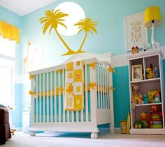Others,Comfy Tropical Surf Art Wall Decals Ideas In Fantastic Blue Yellow Nursery Interior Design,Cozy Tropical Wall Decals Design Inspiration