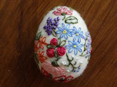 Felted Easter egg with embroidery.