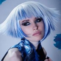 blonde and blue bob hairstyle