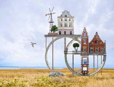 matthias jung's dreamlike dwellings form hybrid architectural landscapes