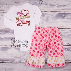 331f0d412 My Heart Belongs to Daddy red hearts ruffle pants set - Baby Girl First Valentines  Day Outfit - Toddler Girl Valentines Day Outfit - Valentines Day Clothes
