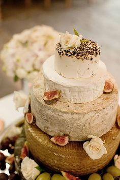 """cake"" made of cheese wheels"
