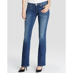 True Religion Joey Twisted Seam Flare Jeans in Sundried Blue ($198) ❤ liked on Polyvore