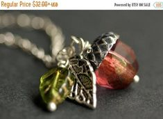 VALENTINE SALE Acorn Necklace. Sunset Berry Crystal Acorn Pendant. Crystal Necklace. Silver Acorn Charm Necklace. Red Acorn Jewelry Handmade by StumblingOnSainthood from Stumbling On Sainthood. Find it now at http://ift.tt/2ETrLmB!